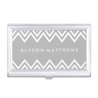 Modernes graues und weißes Zickzack Visitenkarten-Behälter