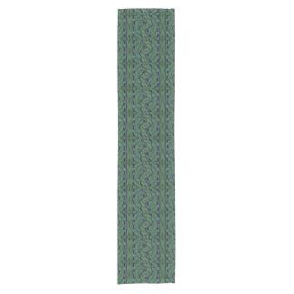 Modernes grün-blaues geometrisches Muster Kurzer Tischläufer