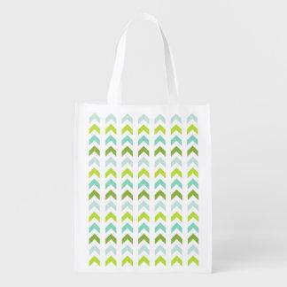 Modernes Grün, Minze, Aqua, weißes geometrisches Wiederverwendbare Einkaufstasche