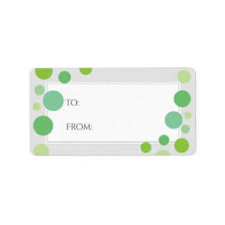 Modernes Grün punktiert Feiertags-neutrale Person Adress Aufkleber