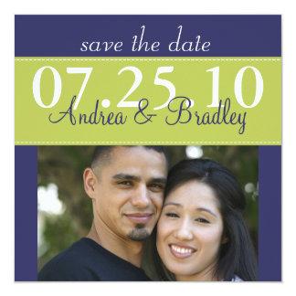 Modernes grünes Marine-Blau-Hochzeits-Foto Save Quadratische 13,3 Cm Einladungskarte