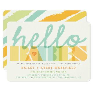Modernes hallo-Baby-Zwillings-Baby-Schlückchen u. 12,7 X 17,8 Cm Einladungskarte