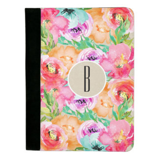 Modernes helles buntes BlumenAquarell Kraftpapier Padfolio