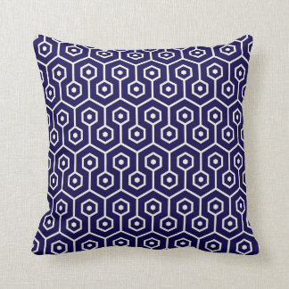 Modernes Hexagon-Bienenwaben-Muster-Kobalt-Blau Kissen