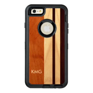 Modernes Holz-Mischfarbe Stripes Muster-Monogramm OtterBox iPhone 6/6s Plus Hülle