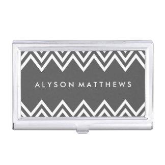 Modernes Holzkohlen-Grau-und weißesZickzack Visitenkarten-Behälter