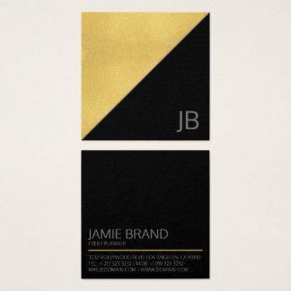 Modernes Imitat-Gold und schwarzes Monogramm Quadratische Visitenkarte