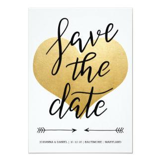 Modernes Imitat-Goldfolien-Herz-Save the Date 12,7 X 17,8 Cm Einladungskarte