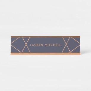 Modernes Imitat-Rosen-Gold geometrisch auf Schreibtischnamensplakette