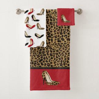 Modernes Jaguar-Stilett-Heels-Bad-Tuch-Set Badhandtuch Set