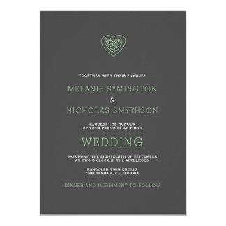 Modernes keltisches Herz-irische Hochzeit laden, Karte
