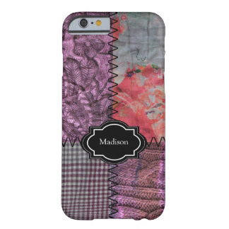 Modernes lila gestricktes Monogramm des Patchworks Barely There iPhone 6 Hülle