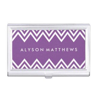 Modernes lila und weißes Zickzack Visitenkarten-Behälter