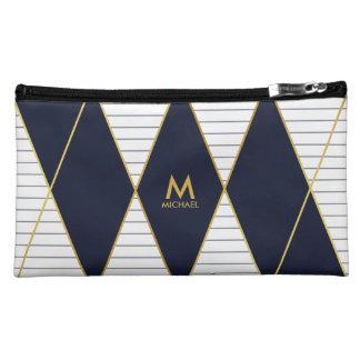 Modernes Luxusmarine-Blau-Gold Stripes Monogramm Kosmetiktasche