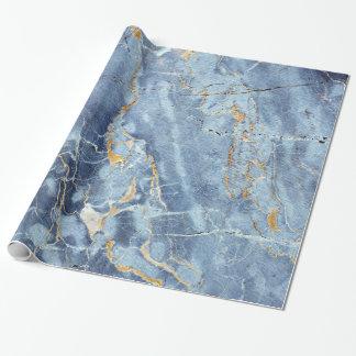 Modernes modisches Marmormuster im blauen Goldgrau Geschenkpapierrolle