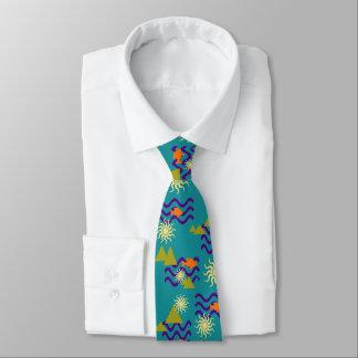 Modernes Natur-Erdsymbol-Muster auf aquamarinem Bedruckte Krawatten