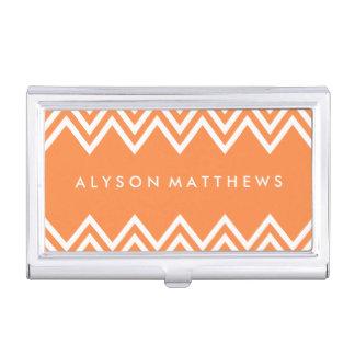 Modernes orange und weißes Zickzack Visitenkarten-Dosen