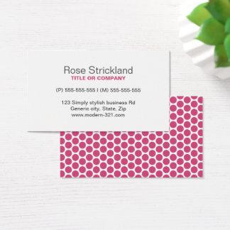 Modernes pinkfarbenes Rosenpolka-Punktmuster Visitenkarte