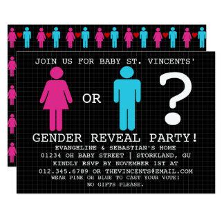 Modernes Restroom-Zeichen-Geschlecht decken Party Karte