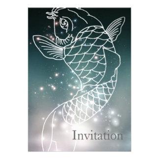modernes romantisches blaues glühendes individuelle einladungskarte