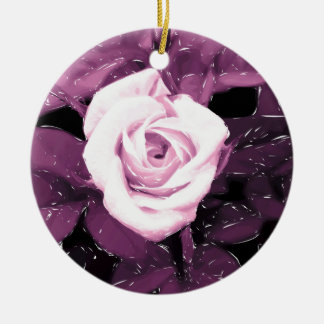 Modernes romantisches Rosendesign Rundes Keramik Ornament