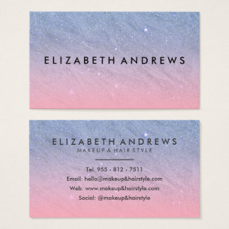 Modernes rosa blaues Imitat-Glitter-Steigung Visitenkarte