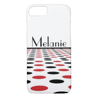 Modernes Rot und schwarze Flecken auf Weiß iPhone 8/7 Hülle