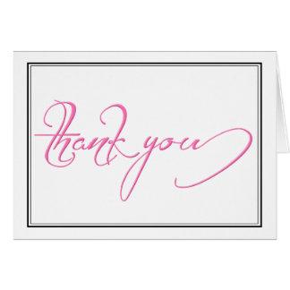 Modernes Schwarz-weißes rosa Skript danken Ihnen Karte