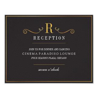 Modern Black Gold Elegant Wedding Reception Card