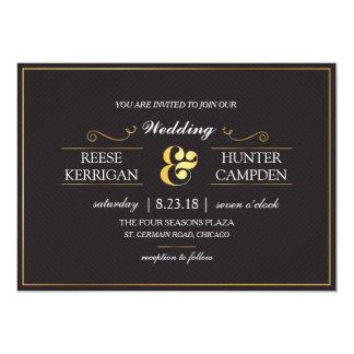 Modern Black Gold Elegant Wedding Card