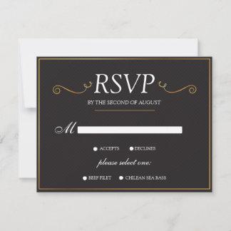 Modern Black Gold Elegant Wedding RSVP