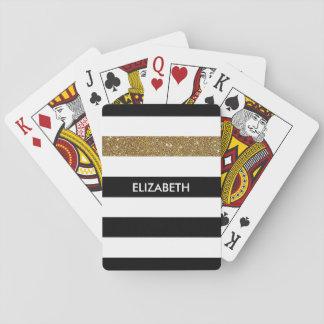 Modernes Schwarzes Stripes IMITAT GoldGlitz und Spielkarten