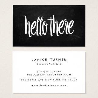 Modernes schwarzes Tafel-Chic hallo dort stilvoll Visitenkarte