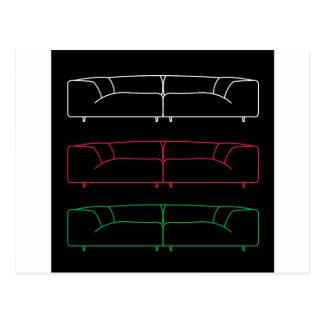 Modernes Sofa des Wohnzimmers in den verschiedenen Postkarte