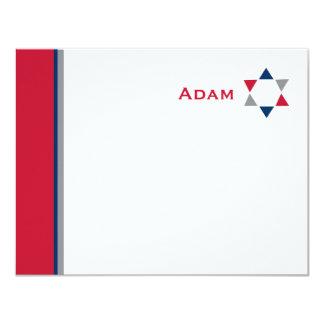 Modernes Stern-Bar Mitzvah danken Ihnen zu 10,8 X 14 Cm Einladungskarte