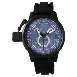 Modernes Stier-Tierkreis-Zeichen-blaue Uhren
