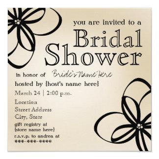 Modernes TAN u. schwarzes Brautparty laden ein Quadratische 13,3 Cm Einladungskarte