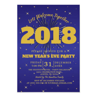 Modernes Trendy Party-Goldblau des Sylvesterabends Karte