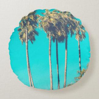Modernes tropisches Palme-Strandsommer-Foto Rundes Kissen
