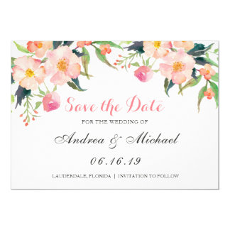 Modernes Watercolor-Rosa mit Blumen Save the Date Karte