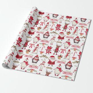 Modernes Weihnachten Sankt, Pinguine u. Eisbären Geschenkpapier