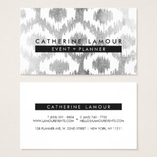 Modernes weißes ikat handrawn silberne Folie Visitenkarte