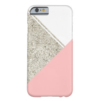 Modernes weißes silbernes Glitter-Rosadreieck Barely There iPhone 6 Hülle