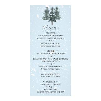 Modernes Winter-Kiefer-Hochzeits-Menü Werbekarte