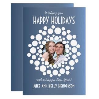 Modernes Wreath-Feiertags-Foto-flache Karte -