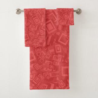 Modernes zeitgenössisches abstraktes rotes Muster Badhandtuch Set