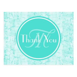 Modische Aqua-Minze danken Ihnen mit Monogramm Postkarte