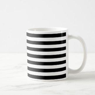 Modische breite horizontale Schwarzweiss-Streifen Kaffeetasse