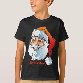 Modische lächelnde frohe Weihnachten Sankt T-Shirt