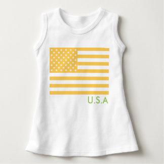 Modische USA-amerikanische Flagge, gelb Kleid